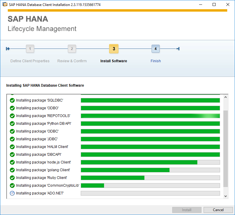 SAP HANA Database Client setup progress
