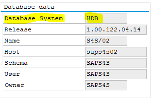 SAP HANA database on System Status