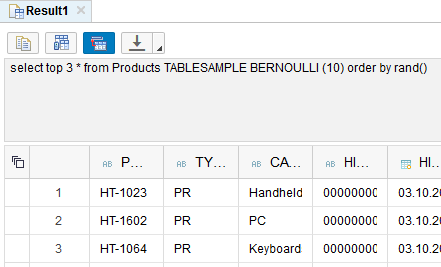 sampling with Bernoulli on SAP HANA database