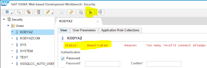 SAP HANA database user deactivated