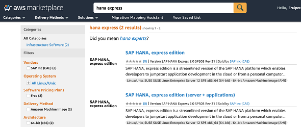available SAP HANA, express editions on AWS Marketplace