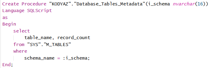 SAP HANA database procedure with parameters