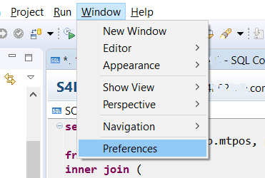 SAP HANA Studio Preferences menu