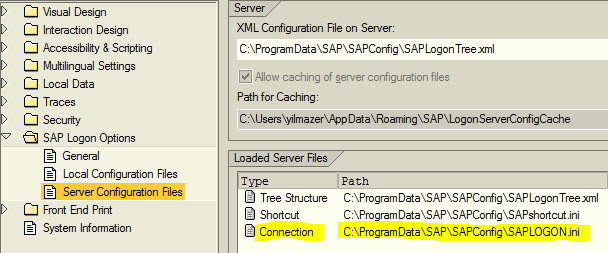 saplogon.ini server configuration file