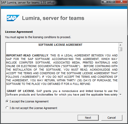 SAP Lumira Server for Teams license agreement