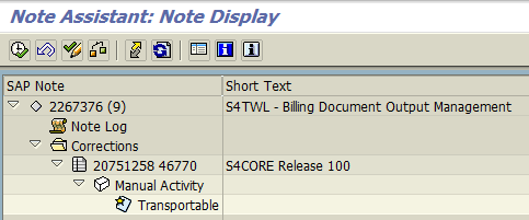 SAP OSS Note 2267376 for Billing Document Output Management