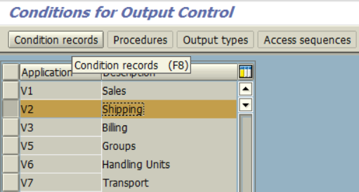 SAP transaction NACE for Output Control Conditions