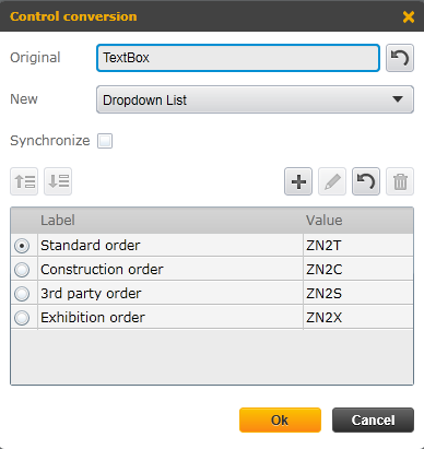control conversion for dropdown list from textbox