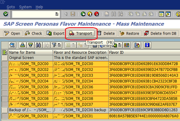 transport multiple flavors using mass maintenance tool