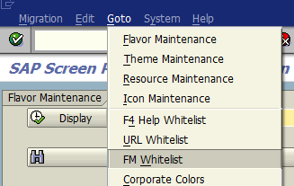 SAP Screen Personas function module whitelist administration