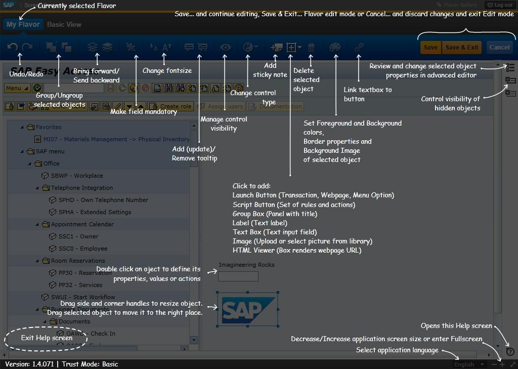 SAP Personas Help screen