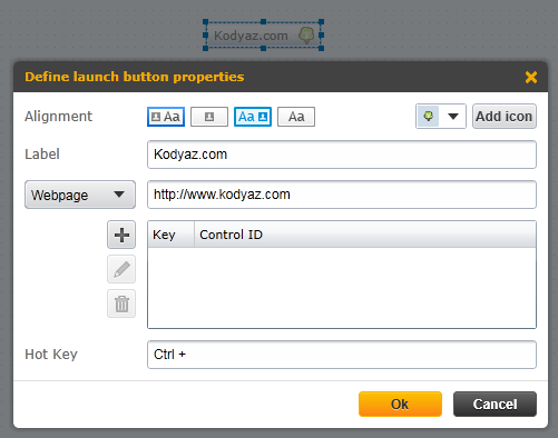 SAP Personas launch button properties to open web URL