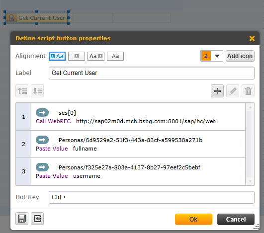 SAP Personas script button Call WebRFC step