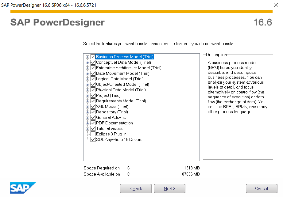 SAP PowerDesigner features to install