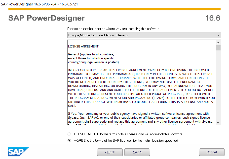 SAP PowerDesigner License agreement