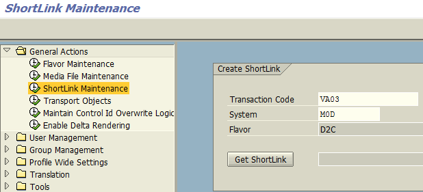 Create ShortLink using SAP Personas Administration tcode