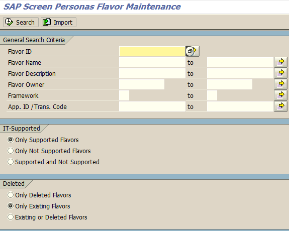 SAP Screen Personas flavor maintenance