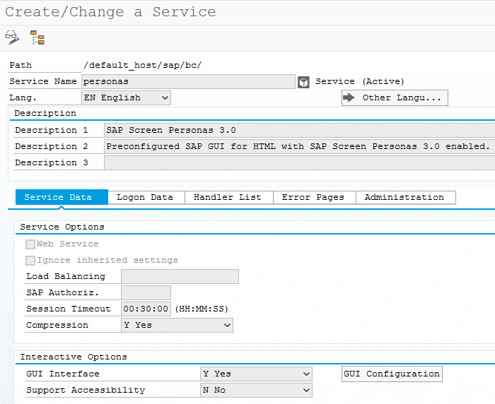 SAP Screen Personas 3.0 service definition