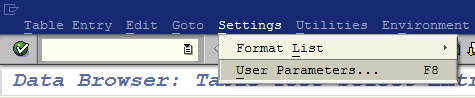 SAP settings for user parameters