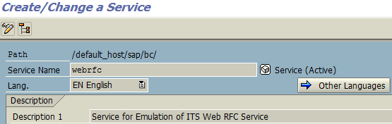 SAP WebRFC service in SICF transaction