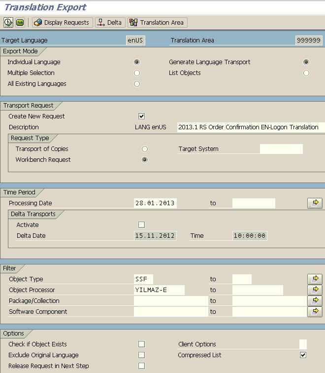 SAP SLXT transaction code for translation export of SAP Smartform documents