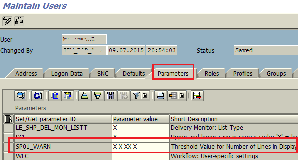 SP01_WARN SAP user parameter