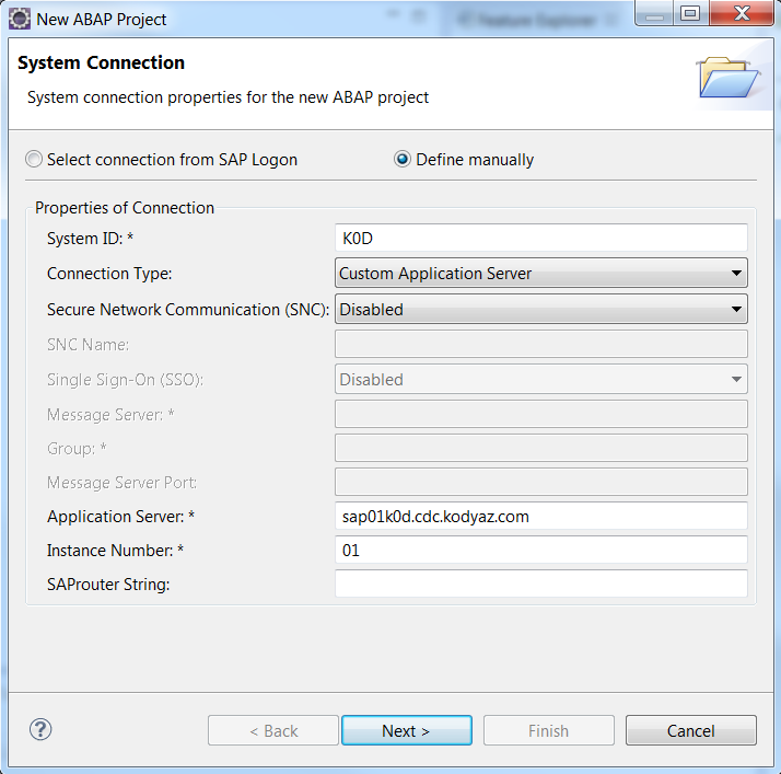 SAP system connection properties for ABAP project in Eclipse