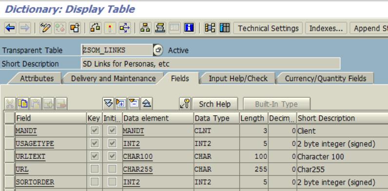 SAP custom table for storing links and URL addresses