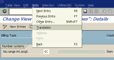 SAP translation menu for Billing Document Type text