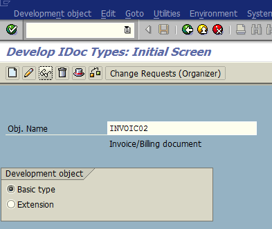 SAP WE30 IDoc object types screen for IDoc message type