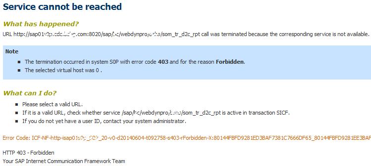 SAP Web Dynpro Service Cannot be Reached Error