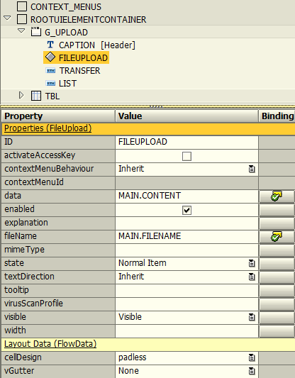 SAP Web Dynpro FileUpload element context attributes