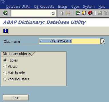 SAP SE14 Abap Dictionary Database Utility transaction
