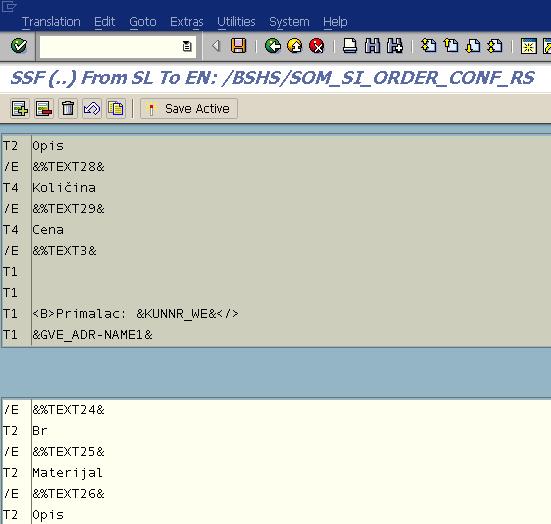 SE63 editor screen to edit translation of SAP Smartform object