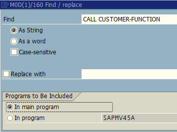 search CALL CUSTOMER-FUNCTION for user exits in SAP program