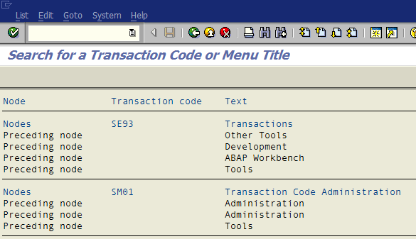 SAP search_sap_menu transaction