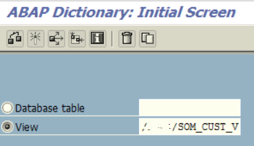 search for a CDS view on ABAP Dictionary