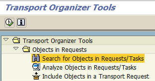 search for objects in requests/tasks using SAP Transport Organizer Tools