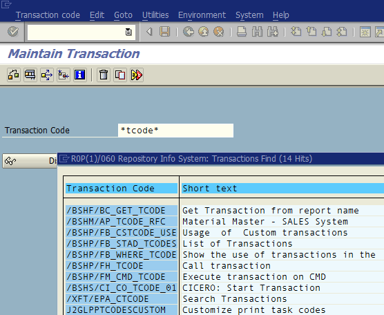 search transaction code using SE93