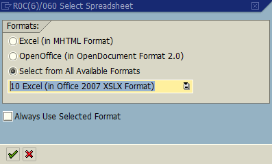 select spreadsheet format for IDoc export as Excel