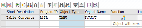 select table data using key values to transfer in transport request