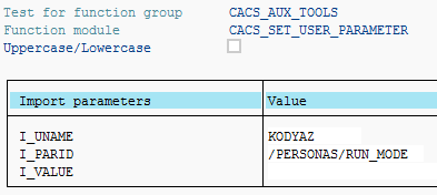 set SAP user parameter using ABAP function module
