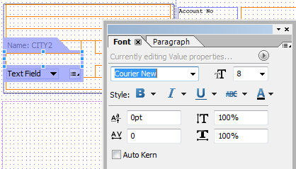 Set Font and Paragraph Properties in Adobe Form Builder