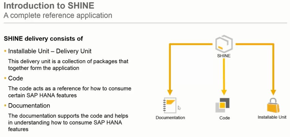 SAP HANA Interactive Education SHINE delivery