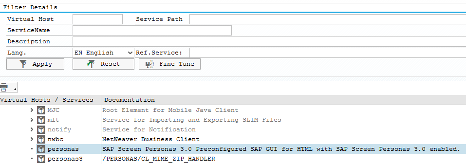 SAP SICF Servide Definition transaction for Screen Personas