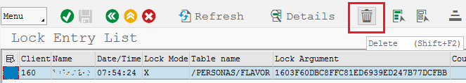 delete lock entry for SAP Personas using SM12 tcode