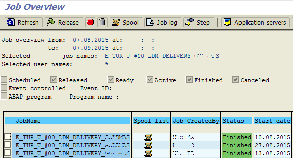 ABAP job overview screen
