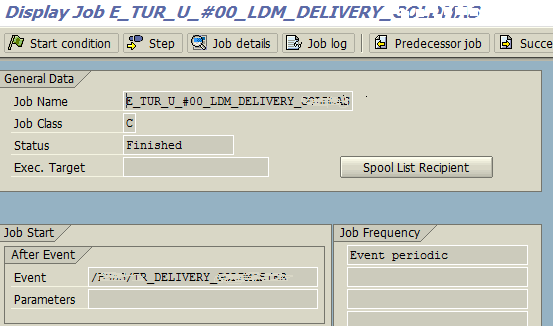 display SAP job detail with start condition and job steps