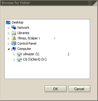 choose destination folder for spool request export task