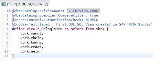 SQL DDL source for CDS View in SAP HANA Studio